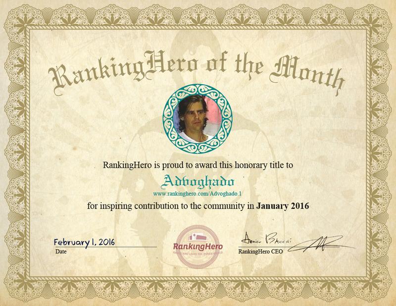 Congratulations to Advoghado!
