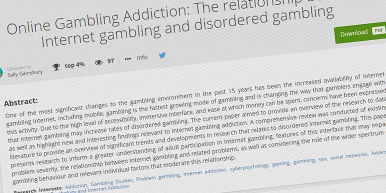 "Research Finds Internet Gambling ""Not Predictive of Gambling Problems"""