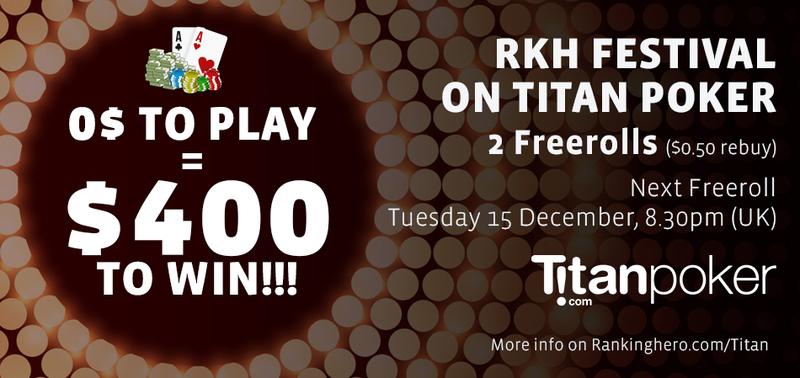 Freeroll tomorrow on Titan Poker! $300 to win!